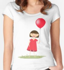 Cute girl with red balloon Women's Fitted Scoop T-Shirt