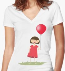 Cute girl with red balloon Women's Fitted V-Neck T-Shirt