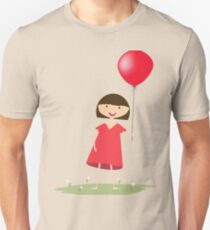 Cute girl with red balloon Unisex T-Shirt