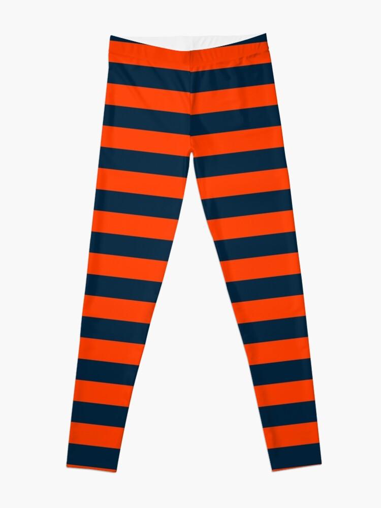 Alternate view of Orange Pop and Navy Blue Tent Stripe Leggings