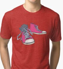 Pink Hi-top Sneakers Tri-blend T-Shirt
