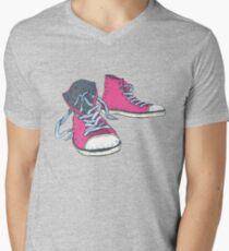 Pink Hi-top Sneakers Men's V-Neck T-Shirt