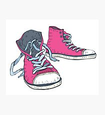 Pink Hi-top Sneakers Photographic Print