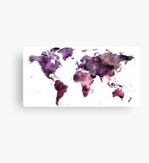 Watercolor World Map Pink Purple Canvas Print