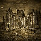 My old style digital painting of the Ruins of Melrose Abbey a former Cistercian Gothic monastery founded in 1136 by Dennis Melling