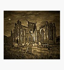 My old style digital painting of the Ruins of Melrose Abbey a former Cistercian Gothic monastery founded in 1136 Photographic Print