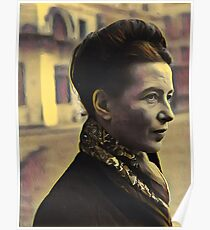 Simone de Beauvoir - stylized Poster