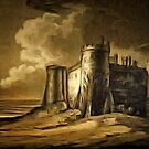 My digital painting of Carew Castle, Pembrokeshire, Wales 1803 by Dennis Melling