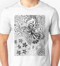 Butterfly and flowers, doodles Unisex T-Shirt