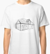 Sketch of a wood cabin. Drawing of small house. Illustration Classic T-Shirt