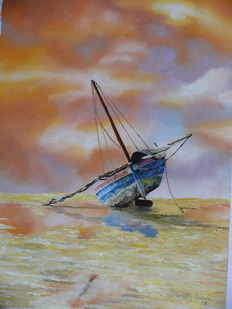 oil painting - sailing boat at sunset by timmotholden