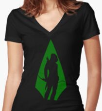 Green Arrow S5 Women's Fitted V-Neck T-Shirt