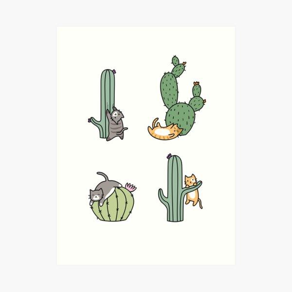 Cacti Cats Art Print