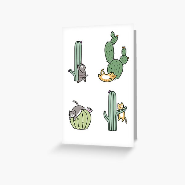 Cacti Cats Greeting Card