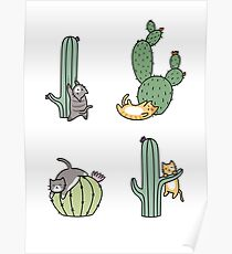 Cacti Cats Poster