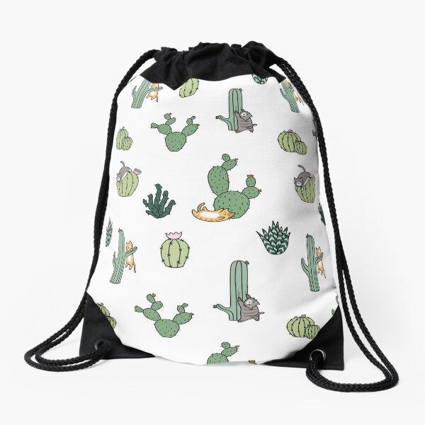 Cacti Cats Drawstring Bag