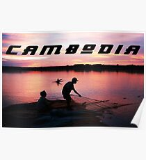 Cambodia - Fishing in the Mekong River at Sunset Poster