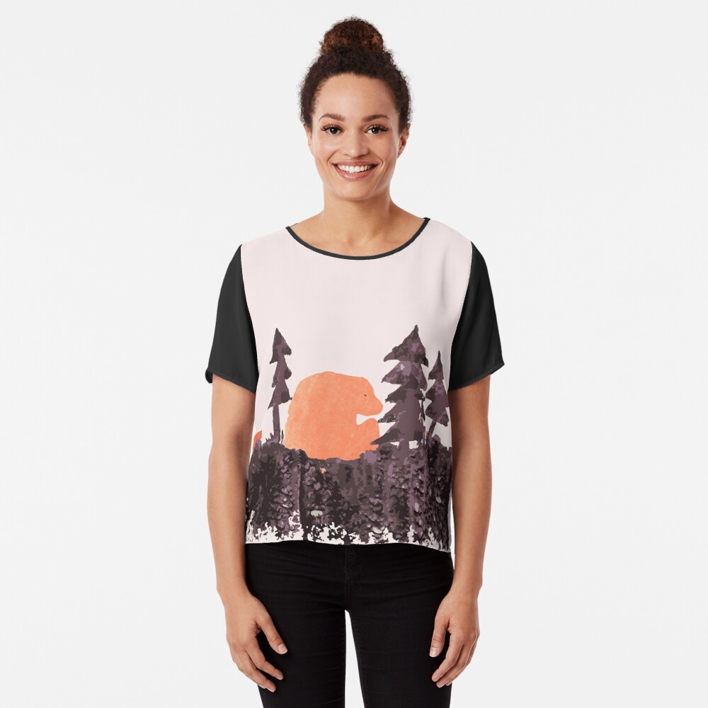 Bear Sunset in the Woods  Chiffon Top