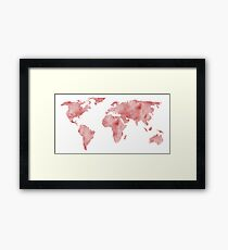 World Map Light Red Watercolor Framed Print