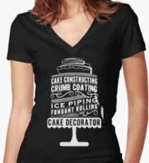 Cake Decorating T-Shirt  Women's Fitted V-Neck T-Shirt