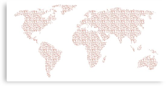 World map pink rose gold hearts love canvas prints by naturemagick world map pink rose gold hearts love by naturemagick gumiabroncs Image collections