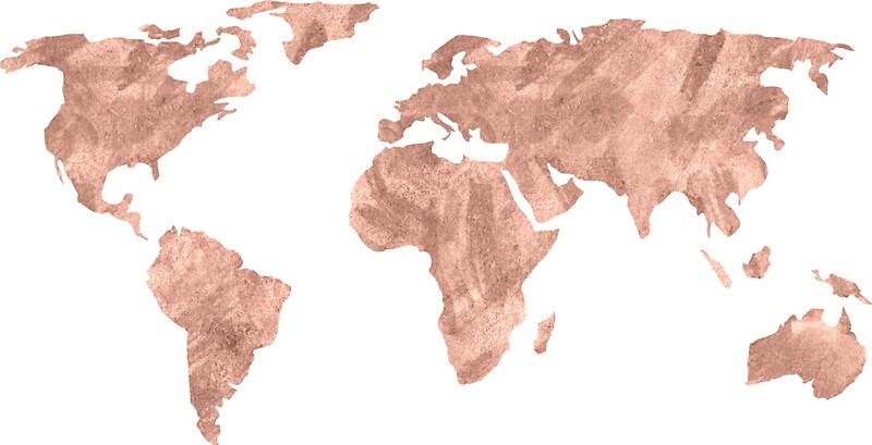 World map rose gold pink vintage stickers by naturemagick redbubble world map rose gold pink vintage by naturemagick gumiabroncs Gallery