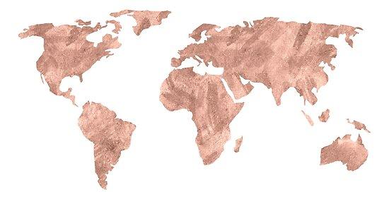 Weltkarte Rose Gold Pink Vintage von naturemagick