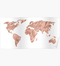 World Map Rose Gold Pink Vintage Poster