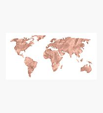 World Map Rose Gold Pink Vintage Photographic Print