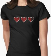 3D Pixel Life Hearts ❤ Womens Fitted T-Shirt