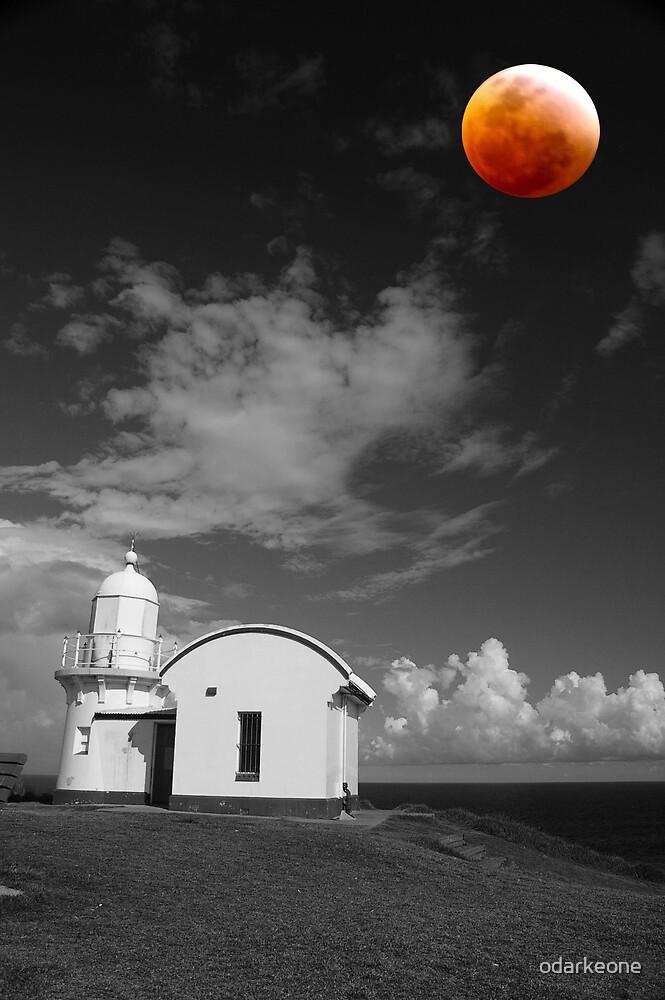 Black & White + Red Moon by odarkeone