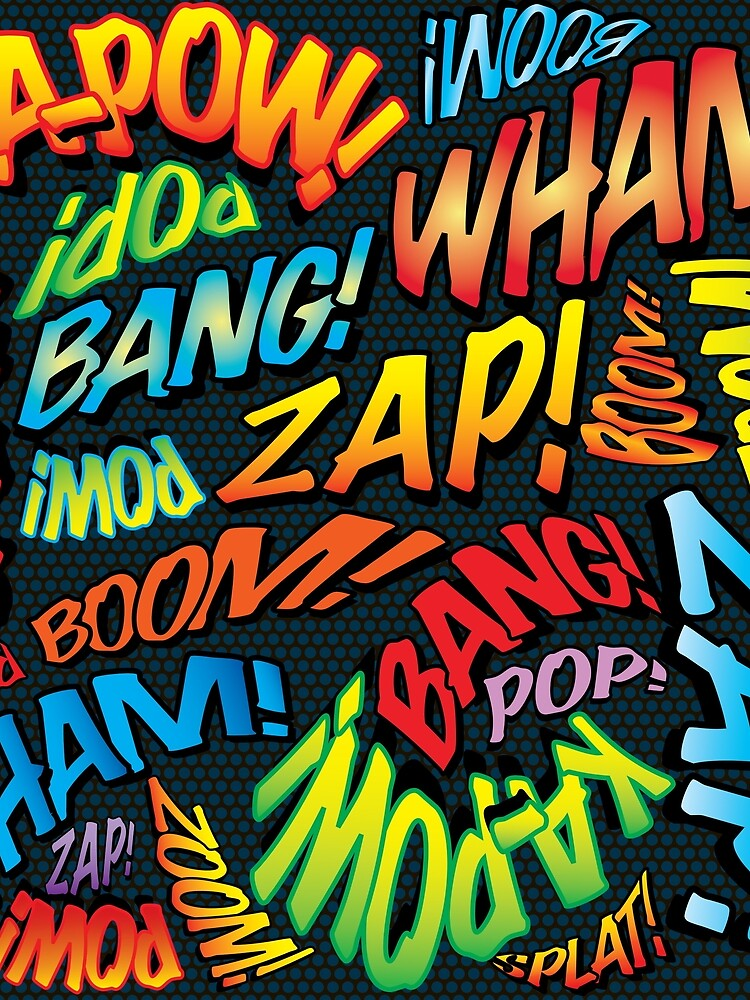 Pop Art Comic Book Sounds Superhero by comicbookpop