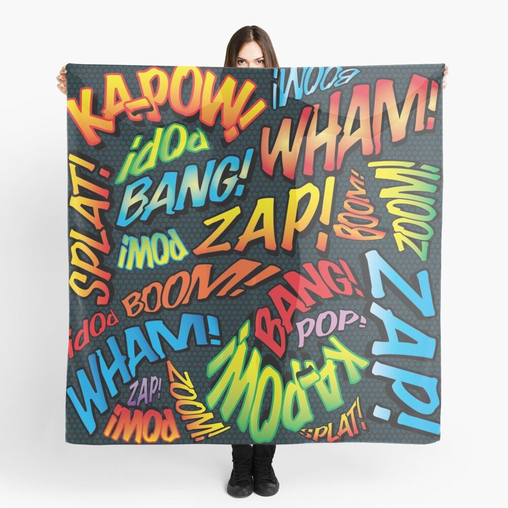 Pop Art Comic Book Sounds Superhero Scarf