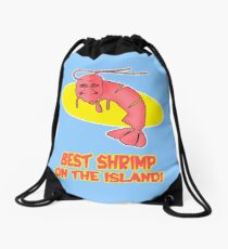 Kamekona's: Best Shrimp on the Island! Drawstring Bag