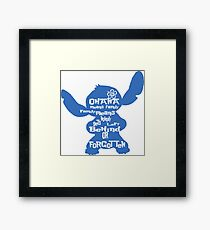 Stitch Ohana means family Framed Print