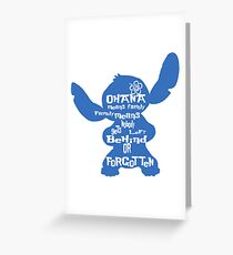 Stitch Ohana means family Greeting Card
