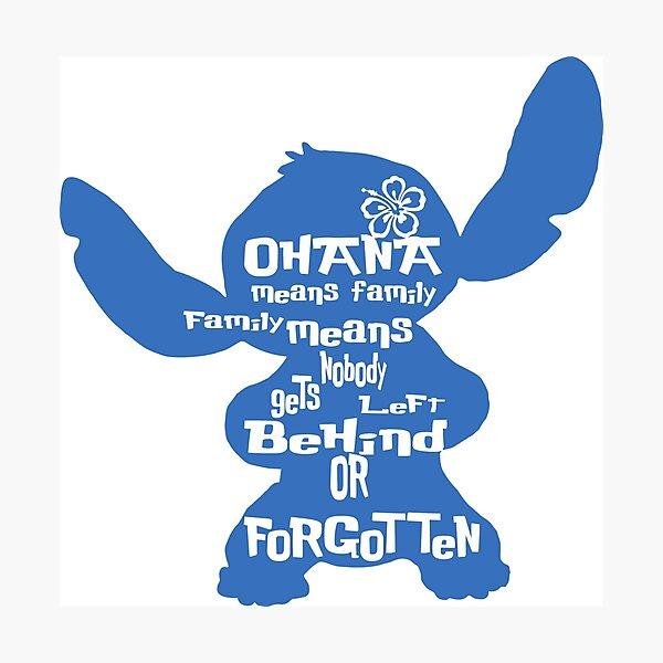 Stitch Ohana significa familia Lámina fotográfica
