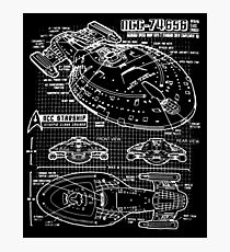 Star Trek Voyager Blueprint dark Photographic Print