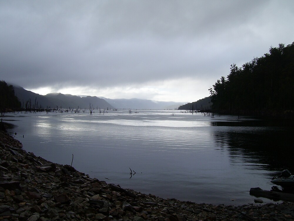 evening approaches and the rain has stopped, near Mackintosh Dam, Tullah by gaylene