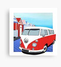 Vw Splitty beach hut Canvas Print