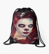 Sugar Doll Red Dia De Muertos Drawstring Bag