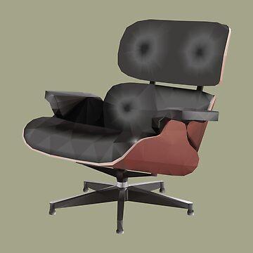 Eames Lounge Chair Polygon Art by polymolystudio
