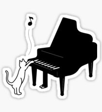 Cute Cat Playing Piano Funny Musician Art Gift Sticker