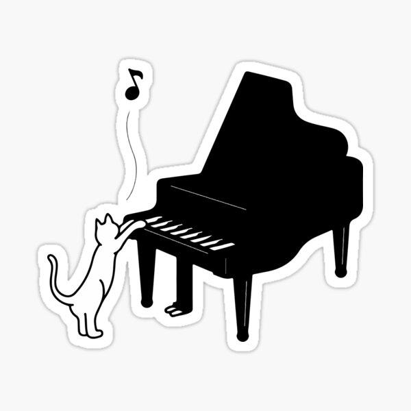 Cute Cat Playing Piano Funny Musician Art Gift Sticker