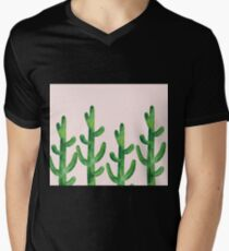 Blush pink - field of cacti Mens V-Neck T-Shirt