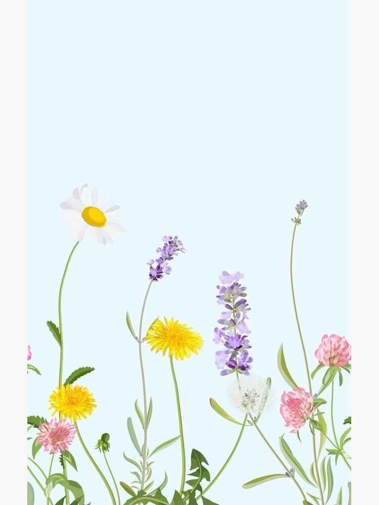 Pastel cyan - wildflower dreams by peggieprints