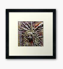 Tribal Indian Chief . Mixed Media Painting Framed Print