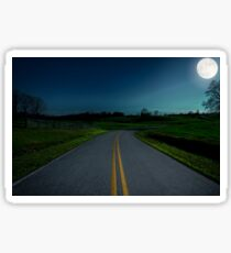 Scenic country road picture during full moon in North Georgia Mountains Sticker