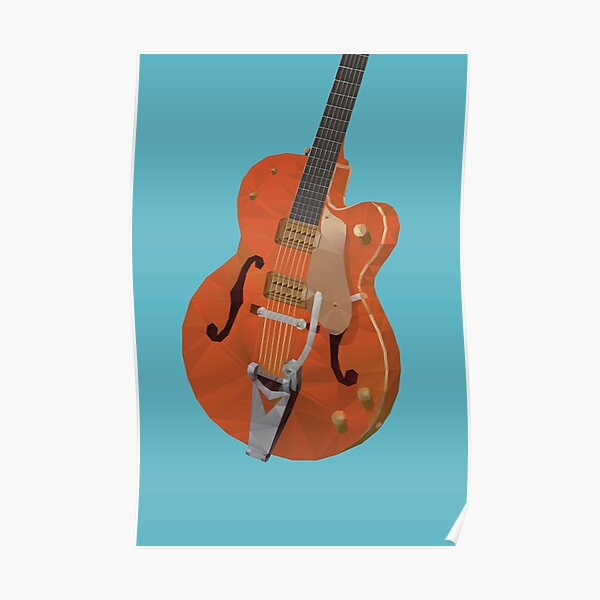 Gretsch Chet Atkins Guitar polygon art Poster