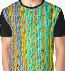 Colourful Blue and Yellow Hanging Chains Graphic T-Shirt